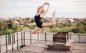 Картинка девушка, David Olkarny, прыжок, фигура