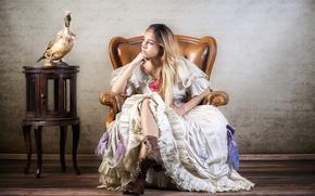 Картинка девушка, птица, кресло, ботинки, платье