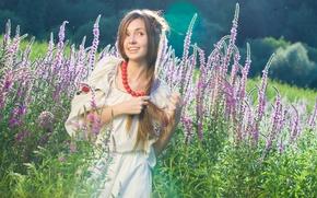 Картинка взгляд, девушка, природа, улыбка, украинка