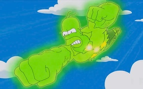 Картинка Green, Homer Simpson, Cartoon, Fly, Radiation