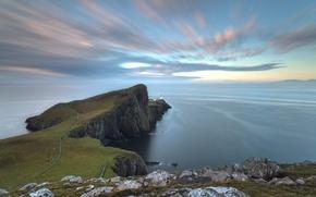 Картинка море, небо, облака, океан, скалы, маяк, шотландия, на краю