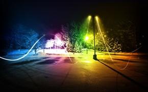 Картинка зима, парк, графика, фотошоп, вечер, Город