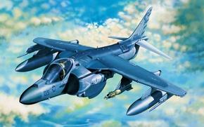 Картинка art, airplane, painting, aviation, jet, McDonnell Douglas AV-8B Harrier II