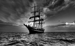 Обои море, небо, корабль