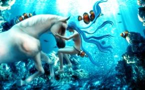 Картинка рыбы, фэнтези, Hatsune Miku, Vocaloid, под водой, белая лошадь, 3d-графика