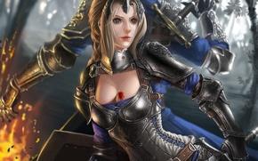 Картинка девушка, оружие, огонь, меч, фэнтези, арт, кулон, парень, доспех