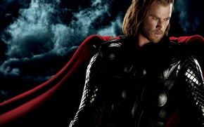 Обои постер, тучи, Chris Hemsworth, красная, накидка, доспехи, комикс, ночь, Крис Хемсворт, фантастика, Thor, Тор