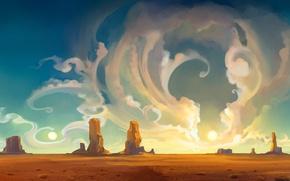 Обои пустыня, облака, закат