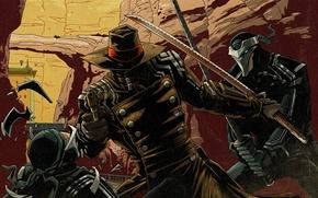 Картинка катана, герой, плащ, револьвер, самурай.шляпа, Red Stel 2