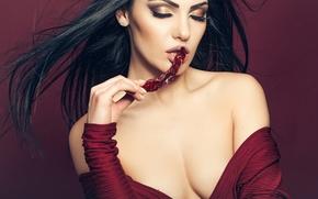 Картинка лицо, модель, волосы, руки, макияж, губы, красавица