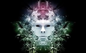 Обои загадка, маска, лицо, белое, чёрно