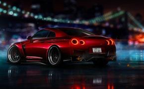 Картинка Nissan, Red, GT-R, NFS, R35, 2015, Ligth, Nigth