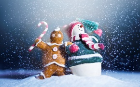 Обои праздник, новый год, снеговик, new year, happy, winter, snow, snowman, пряник
