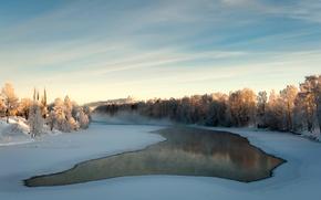 Картинка лед, зима, вода, снег, деревья, туман, река, дымка