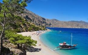 Обои море, лето, пляж, яхта, греция