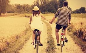 Картинка девушка, любовь, природа, велосипед, фон, отдых, обои, настроения, женщина, шляпа, пара, wallpaper, мужчина, love, шляпка, …
