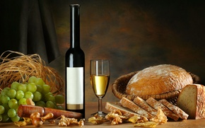 Обои бутылка, хлеб, белое, виноград, бокал, вино, листья