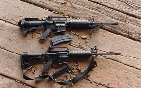 Картинка доски, гильзы, автоматы, m4a1, штурмовые винтовки, м4а1