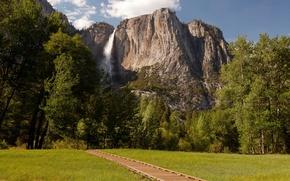 Картинка природа, скала, парк, фото, водопад, США, Йосемити
