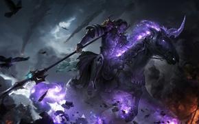 Картинка пламя, конь, рыцарь, арт, бой, воин