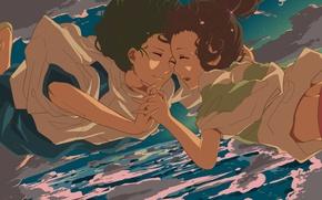 Картинка небо, облака, аниме, мальчик, слезы, падение, арт, девочка, spirited away, унесенные призраками, хаяо миядзаки, ogino …