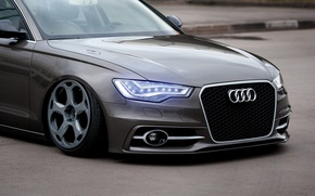 Картинка Audi, Car, Front, Rings, Stance, Wheels, Ligth