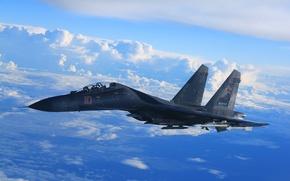 Картинка Су-35, полёт, реактивный, истребитель, многоцелевой, сверхманевренный, небо, облака