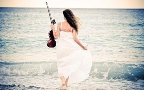 Картинка море, девушка, скрипка
