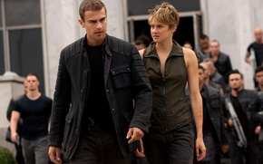 Картинка girl, gun, wanted, soldiers, weapon, woman, man, resistance, rifle, jacket, Four, insurgents, Theo James, Shailene ...
