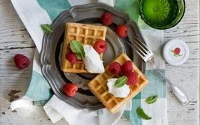 Обои ягоды, малина, десерт, вафли