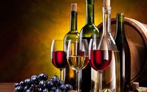 Картинка вино, красное, белое, бокалы, виноград, гроздь, пробки, бутылки, орехи