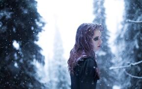 Картинка холод, лес, девушка, снег