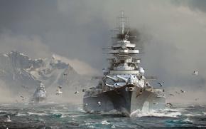 Картинка Небо, Вода, Облака, Море, Горы, Волны, Дым, Снег, Корабль, Корабли, Чайки, Линкор, Bismarck, Wargaming Net, …