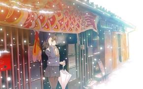 Обои пар, снег, арт, холод, зима, зонт, аниме, девушка, furai