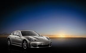 Картинка закат, Porsche, серебристый