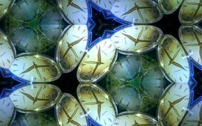 Картинка отражение, часы, симметрия, калейдоскоп