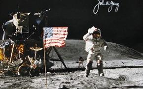 Картинка space, Moon, NASA, history, astronaut, autograph, apollo-16