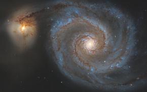 Обои Гончие Псы, галактика, в созвездии, Водоворот