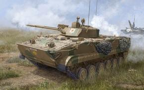 Картинка машина, арт, художник, полигон, учения, советская, Кипр, боевая машина пехоты, БМП-3, состава, действий, бронированная, предназначенная, …