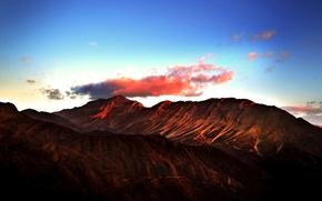 Картинка небо, облака, закат, горы