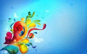 Обои на голубом фоне, радужно, Бабочки