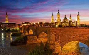 Картинка небо, ночь, огни, Испания, каменный мост, Сарагоса, львиный мост, Базилика-де-Нуэстра-Сеньора-дель-Пилар, река Эбро