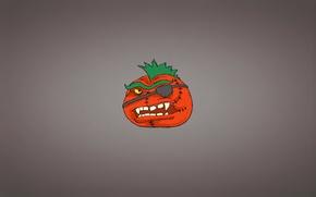 Обои минимализм, овощ, зубастый, tomato, прическа, томат, помидор, Ирокез, повязка