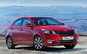 Картинка красный, седан, Kia, киа, рио, Sedan, Rio, 2015, CIS-spec