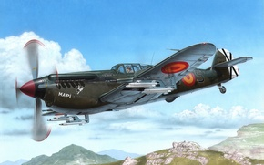 Картинка war, art, airplane, aviation, paintin, Hispano HA 1112 M-1L Buchon