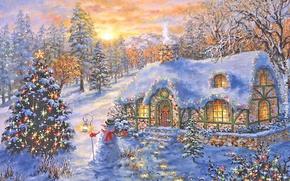 Обои ёлочка, новый год, рождество, ночь, зима