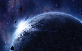 Картинка космос, звезды, свет, планета, спутник