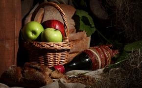 Обои Яблоки, Вино, Еда, Корзинка, Хлеб, Бутылка, фото