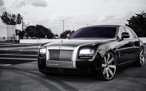 Картинка чёрный, Rolls Royce, Ghost, black, ролс ройс