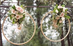 Картинка кольца, свадьба, колёса, букеты